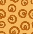 Traditional baked pretzels doodle dotted seamless vector image