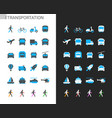transportation icons light and dark theme vector image