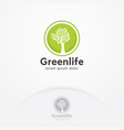 tree logo circle shape design template vector image vector image