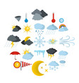 weather icons set flat style vector image vector image