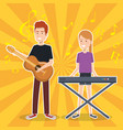 woman playing synthesizer and man guitar vector image vector image