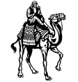 camel with rider black white vector image