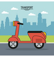 colorful poster of transport with scooter on the vector image