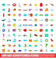 100 sea adventures icons set cartoon style vector image vector image