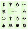 14 beauty filled icons set isolated on white vector image vector image
