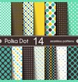 14 different round shape seamless patterns polka vector image vector image