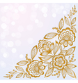 beautiful carved corner gold flowers vector image