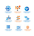 blockchain connection logo collection vector image