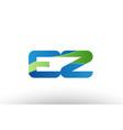 blue green ez e z alphabet letter logo vector image vector image