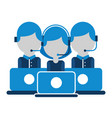 call center group people work with lapotp vector image vector image