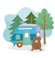 camping cute bear trailer pine trees forest vector image