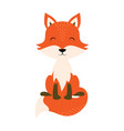 cartoon cute fox isolated on white background vector image vector image