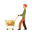 cartoon man walking with full shopping cart full vector image vector image