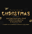 christmas gold font and alphabet vector image