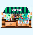 coffee house shop interior with barista standing vector image vector image