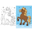 Coloring Book Of Cute Horse With Golden Mane vector image vector image