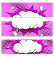 Comic book pop art style web header collection vector image
