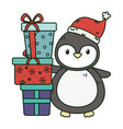 cute penguin with pile gifts celebration merry vector image vector image