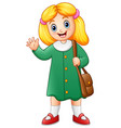 cute school girl cartoon vector image vector image