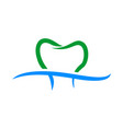 dental care teeth swoosh symbol design vector image vector image
