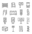 Exhibition stand icon set