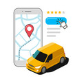express delivery using mobile app transport vector image vector image