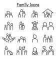 family icon set in thin line style vector image
