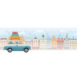 family traveling on car vector image