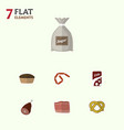 flat icon meal set of bratwurst sack fizzy drink vector image vector image