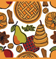 fresh bakery pears apples spice seamless pattern vector image