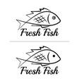 fresh fish logo symbol sign black colored set 5 vector image vector image