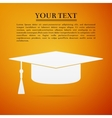 Graduation cap flat icon on orange background vector image vector image