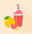 grapefruit smoothie in plastic glass vector image vector image