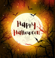 halloween card with moon and black silhouettes of vector image vector image