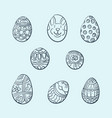 hand drawn decorative easter eggs with different vector image