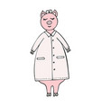 hand-drawn funny pig doctor in a lab coat vector image