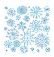 hand drawn snowflakes collection for your design vector image