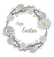 happy easter wreath with chamomile and vector image vector image