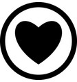 heart black color icon in circle or round vector image vector image