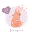 holiday funny rabbit with a balloon heart vector image vector image