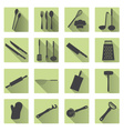 home kitchen cooking utensils flat shadow icons vector image vector image