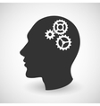 Human head silhouette with set of gears vector image