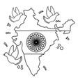 indian flag map and ashoka chakra with doves