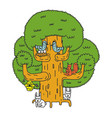 large tree and forest animals oak and squirrel vector image