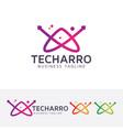 letter a - technology logo design vector image vector image