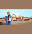 open pit man worker in helmet using mobile app vector image vector image