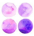 purple watercolor circle set on white background vector image vector image