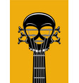 rock and roll music poster guitar riff with skull vector image