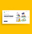 santa claus and his deer on vacation landing page vector image