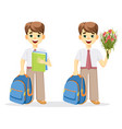 schoolboy with backpack textbook and bouquet of vector image